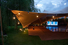 chino stretch tent wedding blue bar oxfordshire