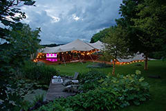 chino stretch tent wedding joined tents garden fairy lgihts oxfordshire lake