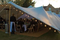 Guests enjoying the open nature of the stretch tent
