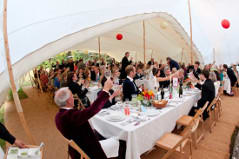 Stretch tents form a fantastic entertaining space