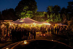 wedding white stretch tent festoon lights garden scotland credit nic barlow