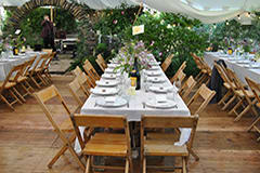 wedding white stretch tent rustic tables and chairs scotland garden