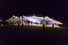 white stretch tent wedding loch lomond uplighters