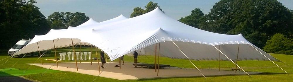 large stretch tent setup
