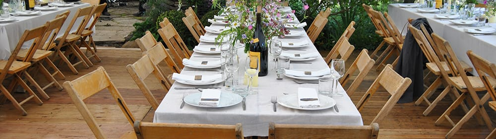 wedding white stretch tent rustic tables and chairs scotland garden.jpg