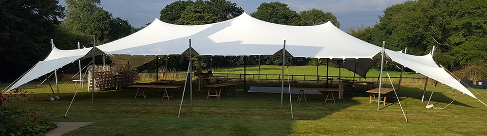 white stretch tent wedding garden oxfordshire