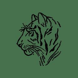 Dotted tigerhoved - strygemærke