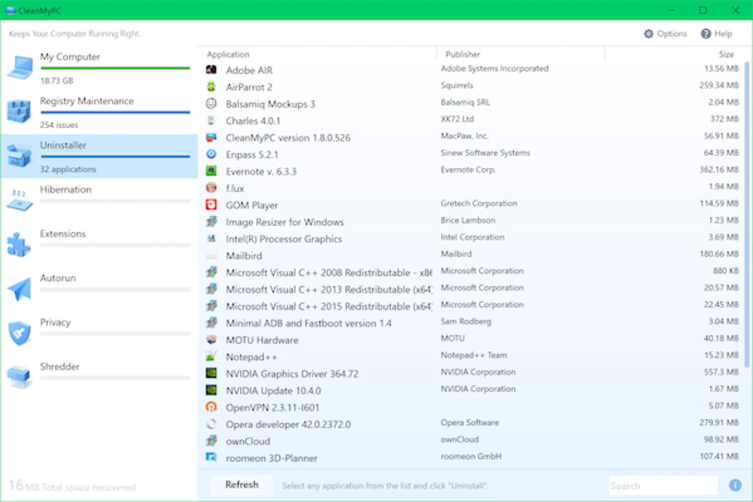 CleanMyPC Screenshot