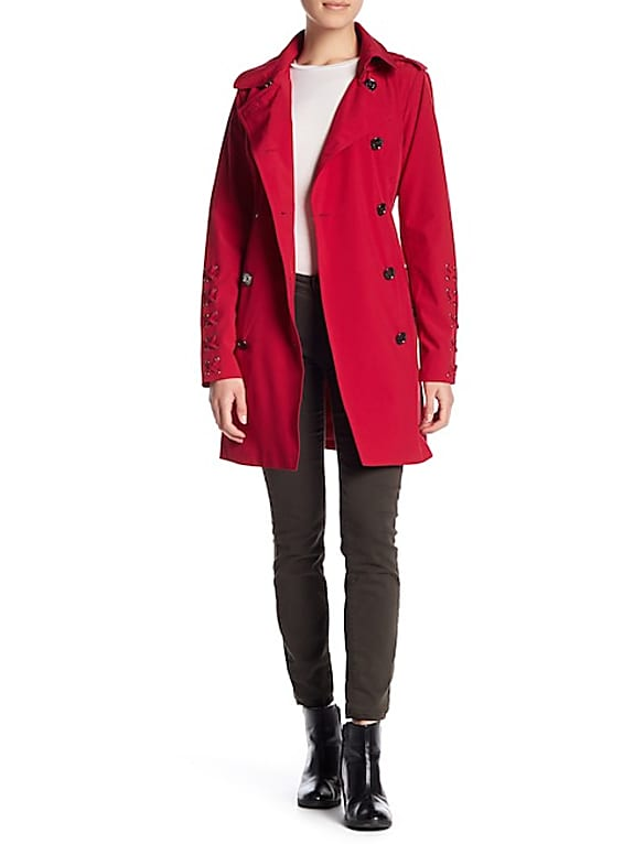 michael michael kors lace up sleeve trench coat