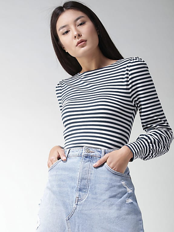women navy & white striped fitted top