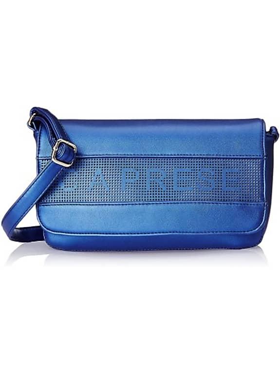 caprese women casual blue leatherette sling bag