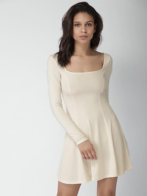 go for  women cream-coloured solid a-line dress