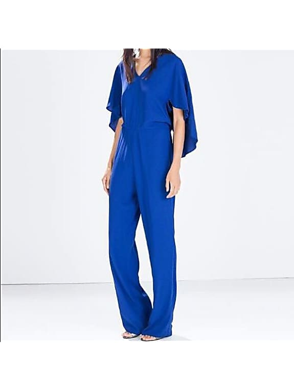 zara blue low cut jumpsuit