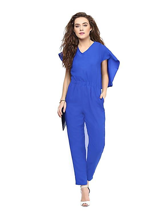 blue back cape jumpsuit