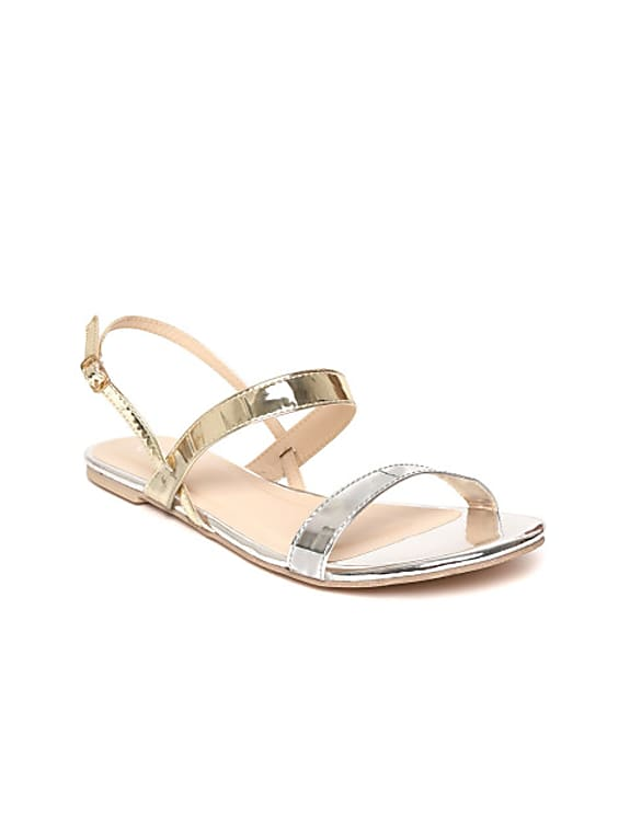 women silver & gold-toned solid open toe flats