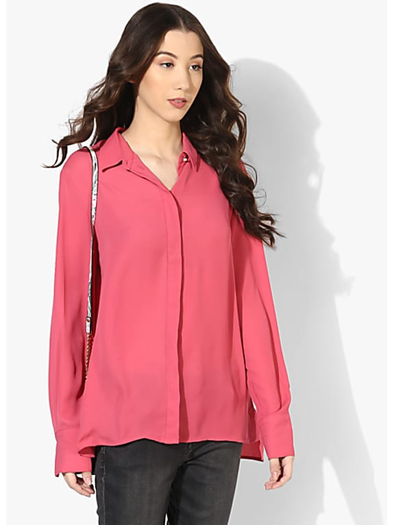pink solid shirt
