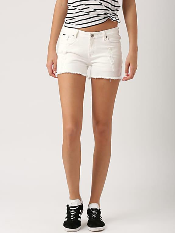 women white solid regular fit denim shorts