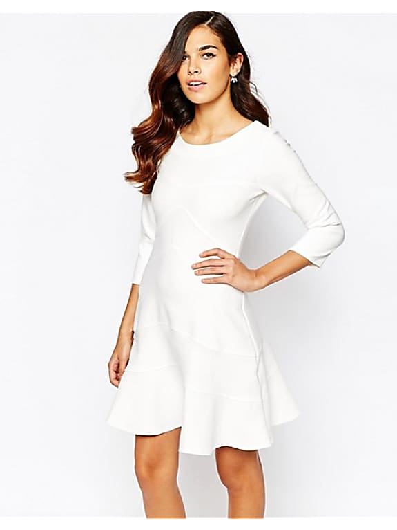 closet long sleeve fit and flare dress