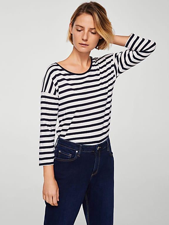 mango women navy blue & white striped round neck t-shirt