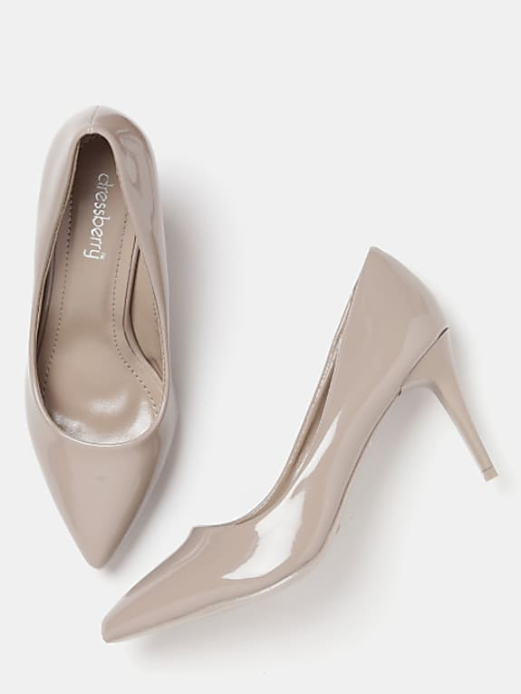 women taupe solid pumps