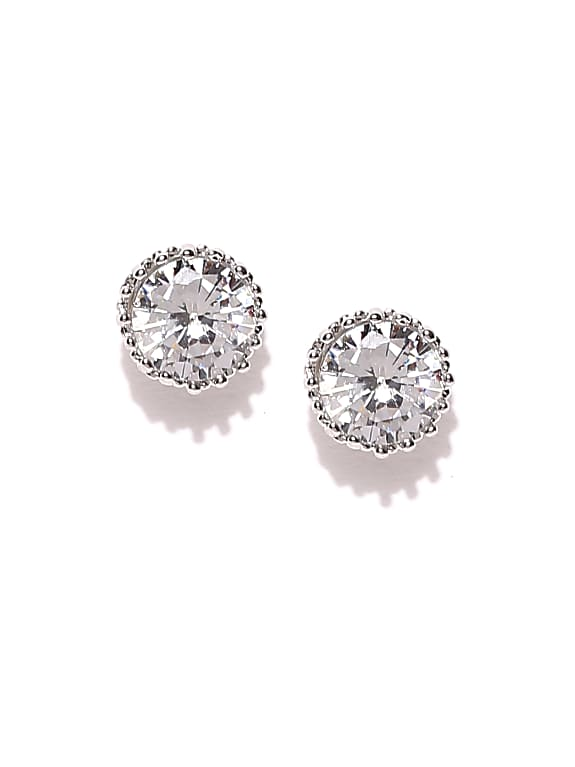 silver-toned circular cz stone studs