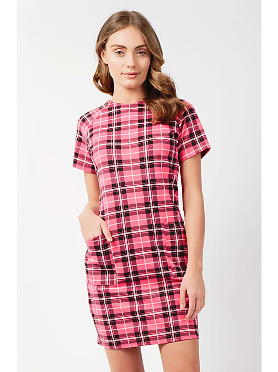 go for  check pocket shift dress