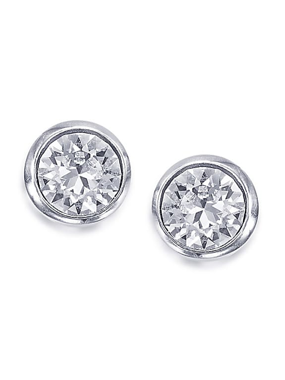 silver-toned & white circular studs