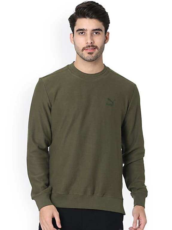 one8 x puma men olive green solid sweatshirt