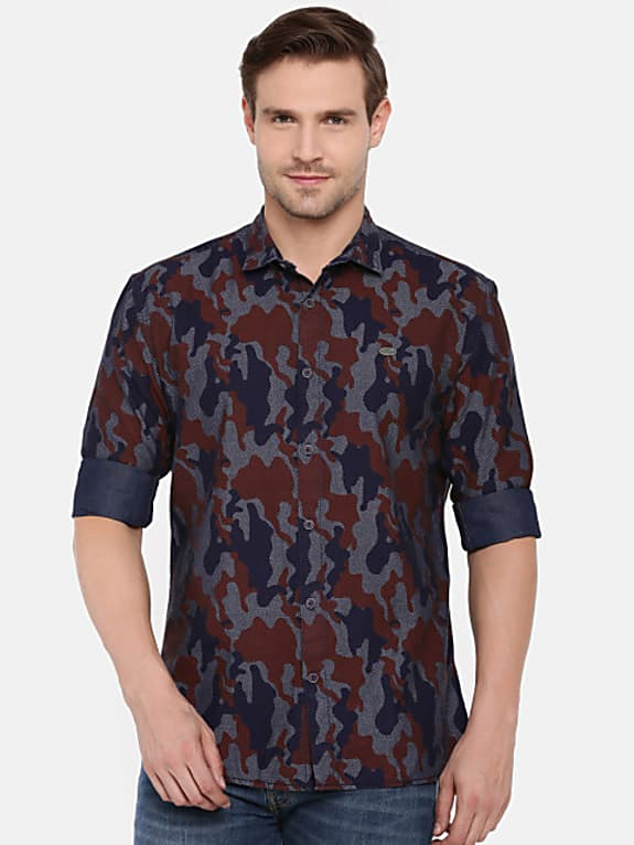 go for  men brown & navy blue regular fit printed casual shirt