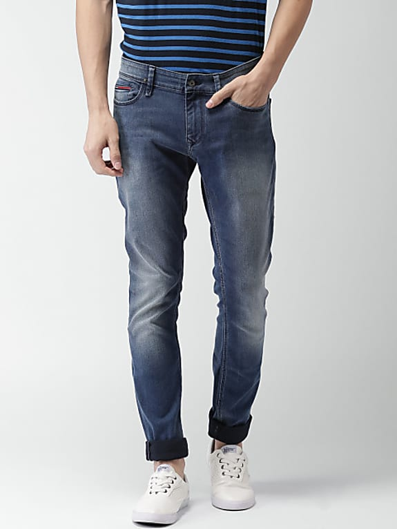 men blue skinny fit low-rise clean look stretchable jeans