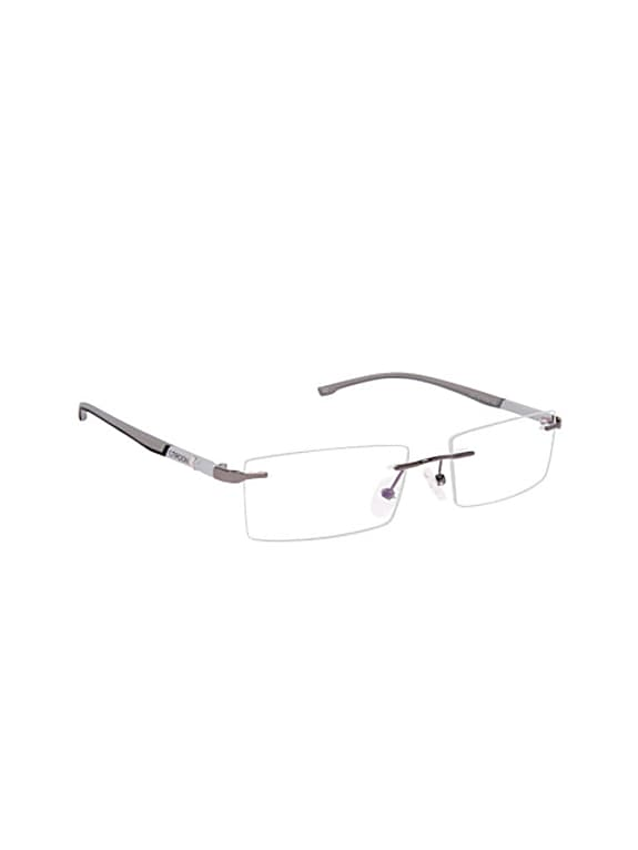 grey solid rimless rectangle frames
