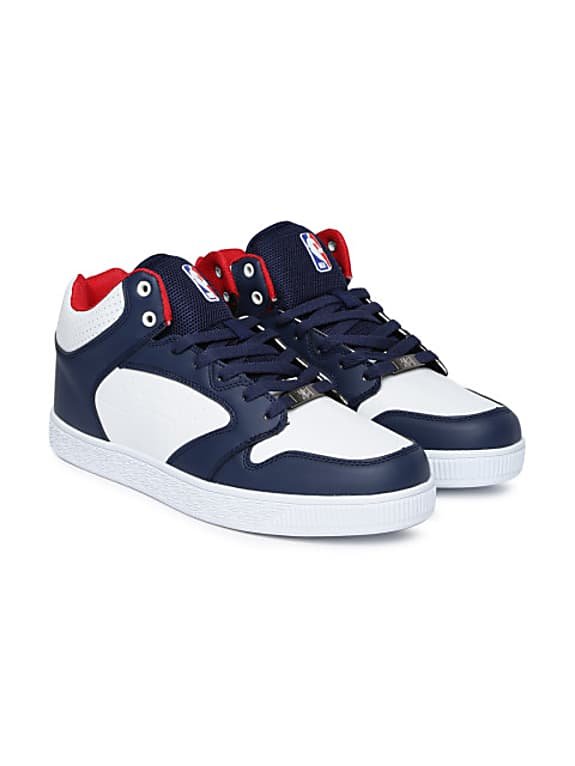 men navy & white high-top colourblocked sneakers