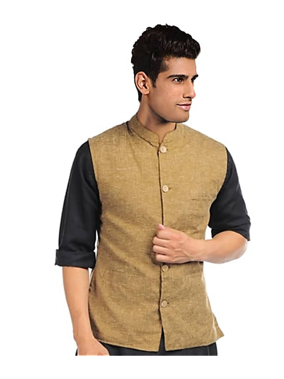 go for   brown linen nehru jacket men