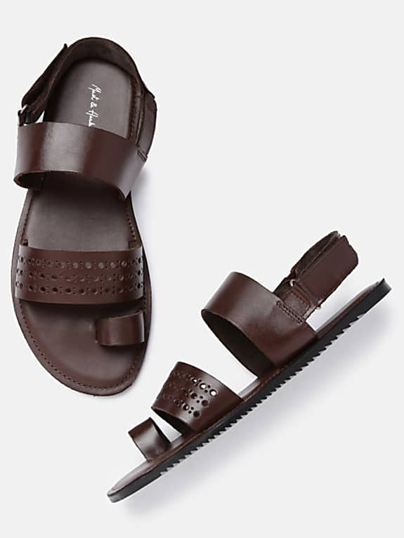 men leather brown sandals with cut-outs