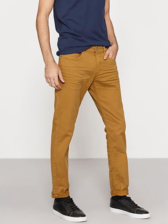 men mustard brown slim fit trousers