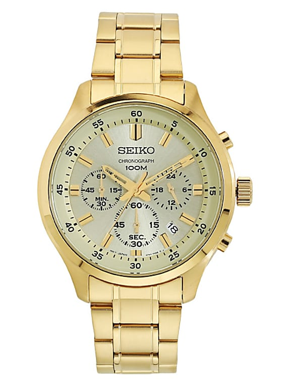 men gold-toned chronograph analogue watch