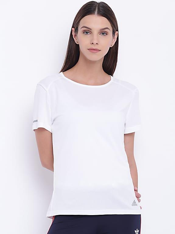 adidas women white solid climalite running t-shirt