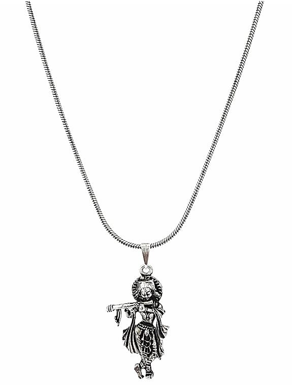 oxidized silver metal krishna pendant necklace
