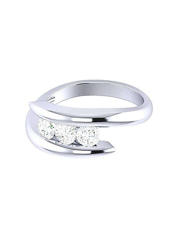 voylla silver elegant three stone ring for women