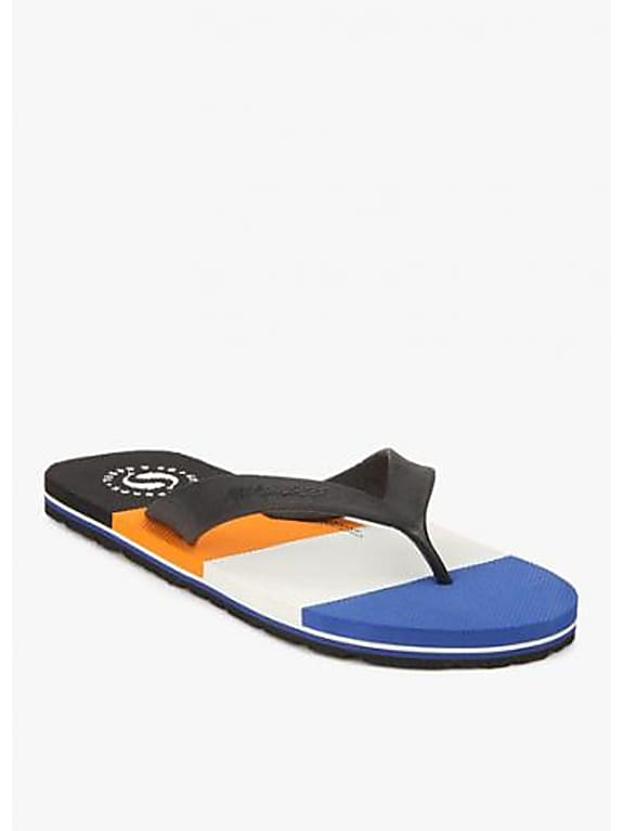sole threads nautica black flip flops