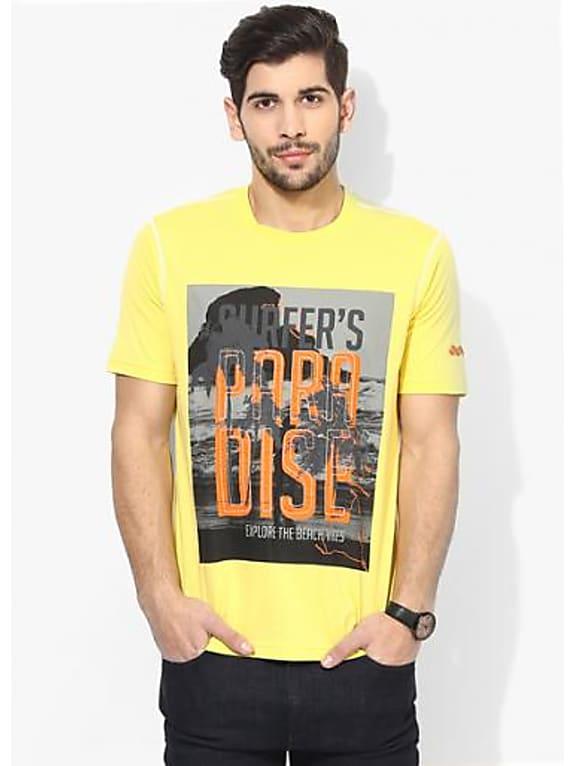 spunk yellow printed round neck t-shirt
