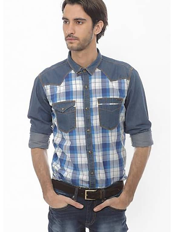 consider personalizing the look  with basics checks blue casual shirt
