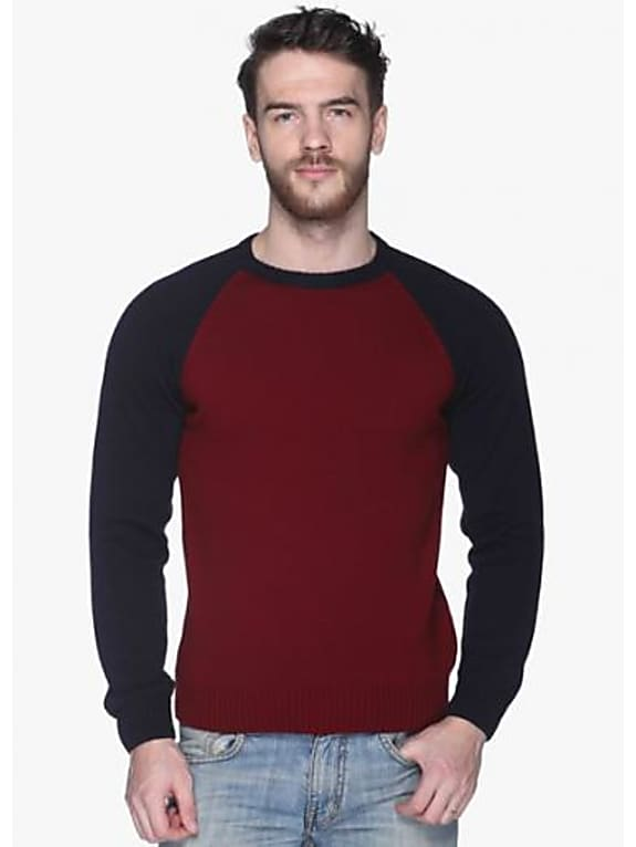 consider personalizing the look  with club york maroon solid round neck sweater