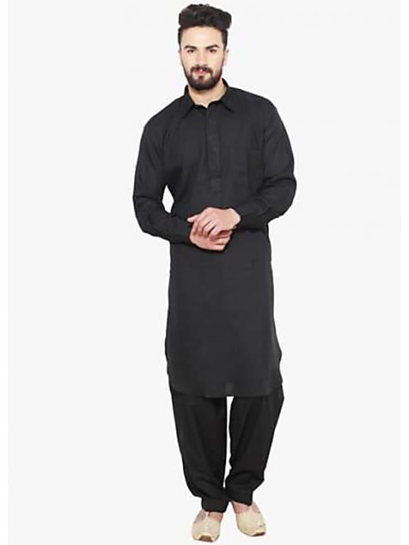 sojanya black solid kurta pyjama