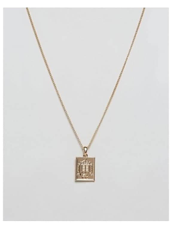 chained & able old english dogtag necklace in gold