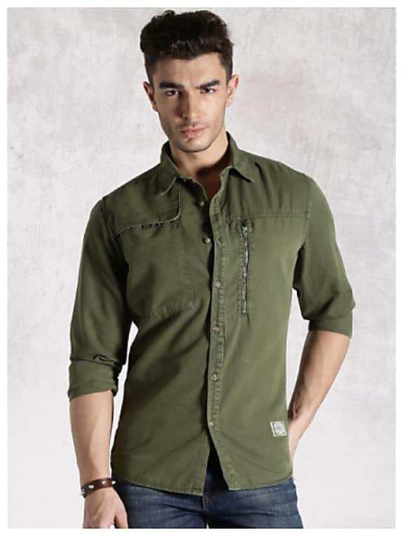 rdstr olive green casual shirt