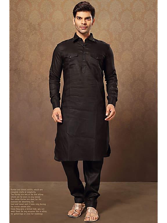 black linen men's pathani kurta set