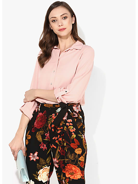 dorothy perkins peach solid shirt