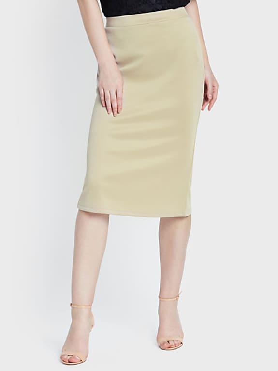 women beige solid pencil skirt