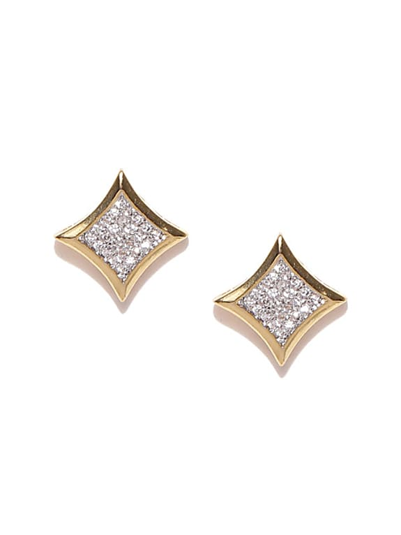 silver-toned gold-plated stone-studded square studs